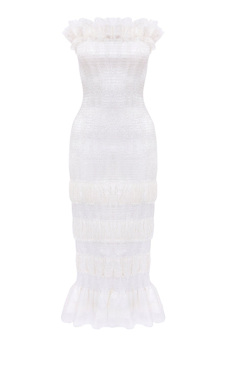 Evangeline - Strapless Midi Dress - White
