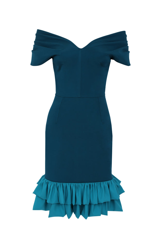 Frilled Tamara Cocktail Dress - Petrol and Sea Green