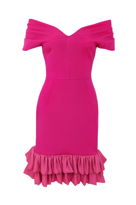 Frilled Tamara Cocktail Dress - Flamingo PInk