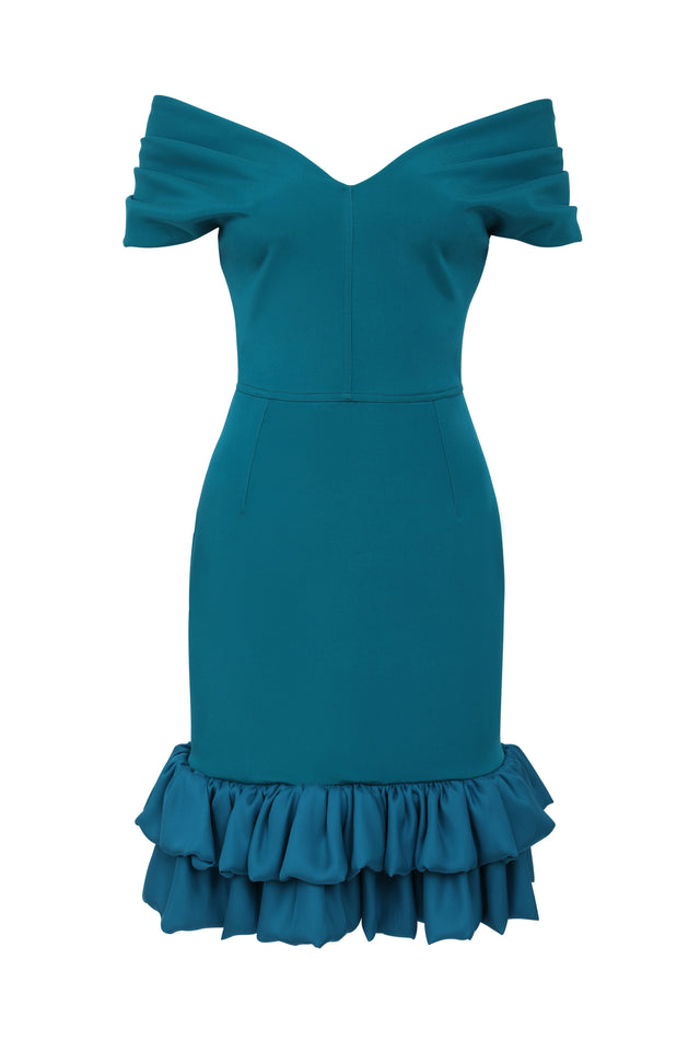 Frilled Tamara Cocktail Dress - Sea Green and Blue