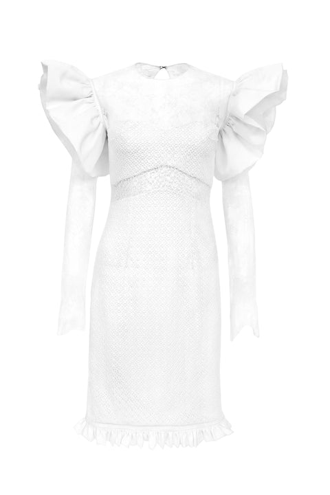 Esther Silk and Lace Cocktail Dress - Ivory