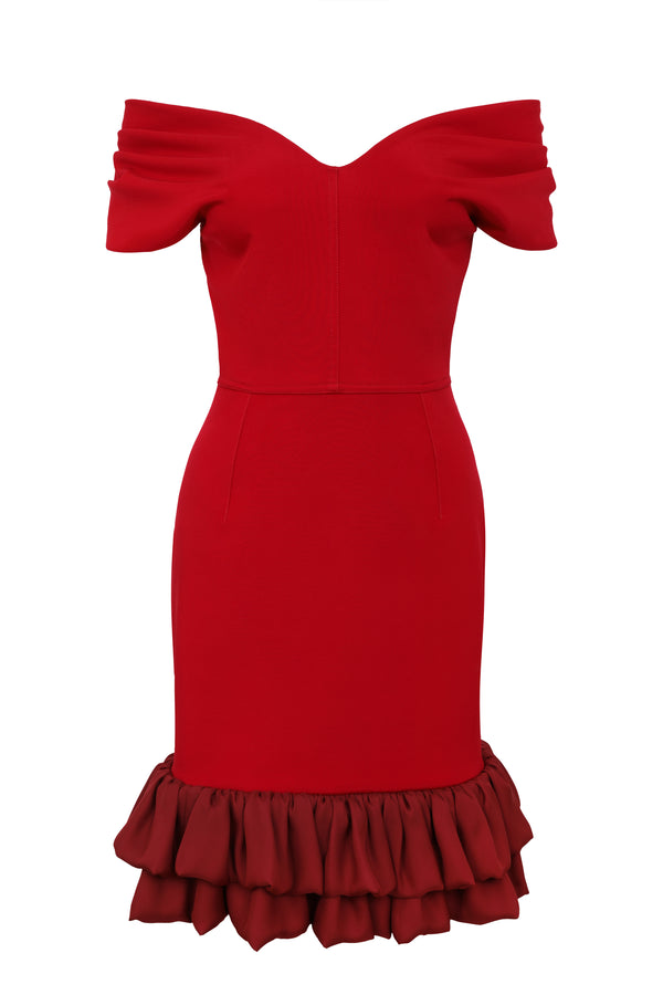 Frilled Tamara Cocktail Dress - Cerise