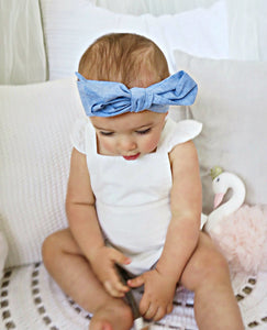 Chambray Linen Bow Headband Wrap