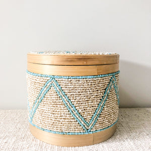 Beaded Bamboo Canister [Natural / Turquoise]
