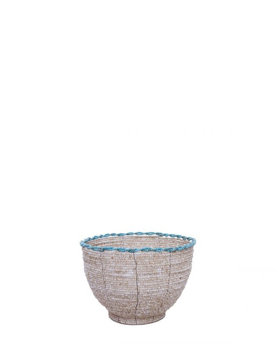 Beaded Candy Bowl (Natural with Turquoise)