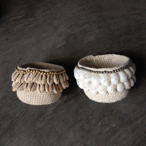 Crochet Shell Pod with Silver Trim & White Shells