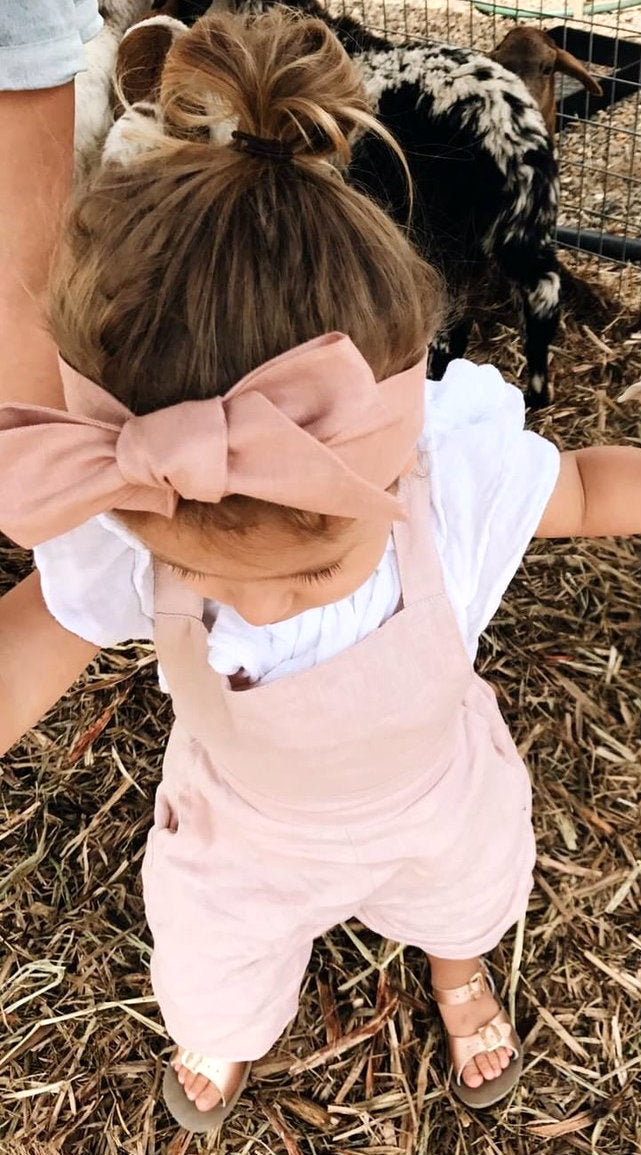 Rust Linen Bow Headband Wrap