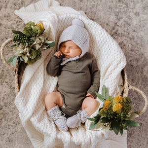 Grey Merino Wool Bonnet & Booties