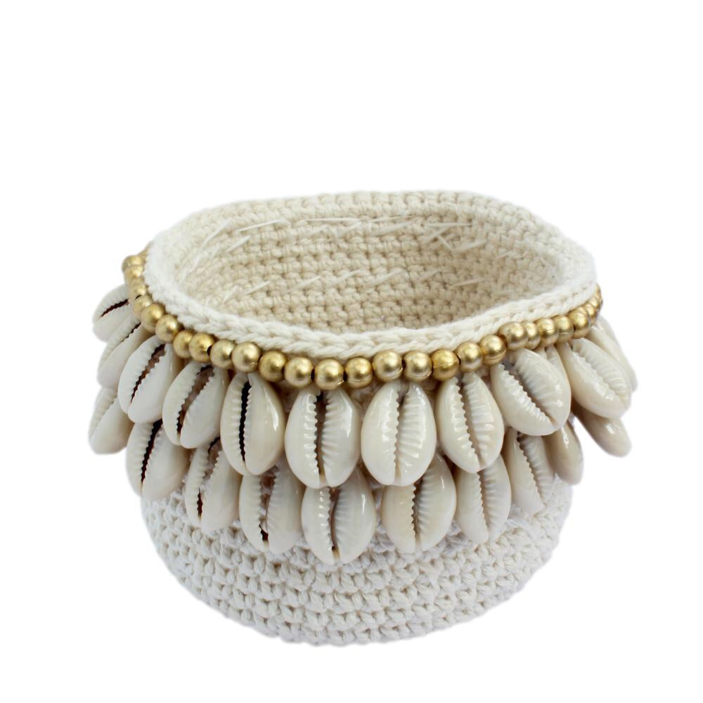 Crochet Cowrie Pod with Gold Trim