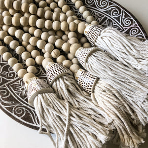 Lana Wooden Beaded Shell Tassel