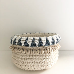 Shell Macrame Holder - Natural with Silver & White Beading