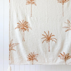 Mixed Palm Print Throw - Natural/Ochre