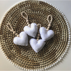 Love Heart Tassel Garland (White)