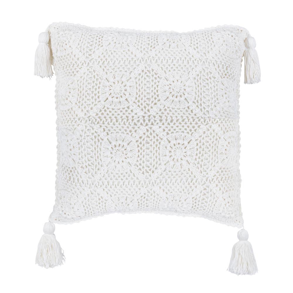 White Natural Crochet Cushion Cover with Tassels