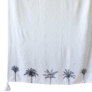 Mixed Palm Throw - White/Black