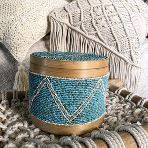 Beaded Bamboo Canister [Turquoise]