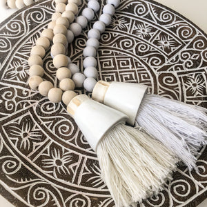 Tuka Wooden Beaded Shell Tassel [Natural]