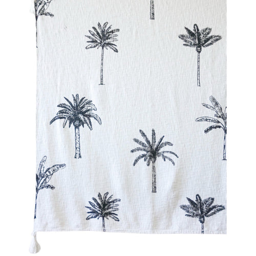 Mixed Palm Print Throw - White/Black