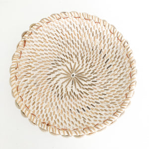 Whitewash Rattan Bowl
