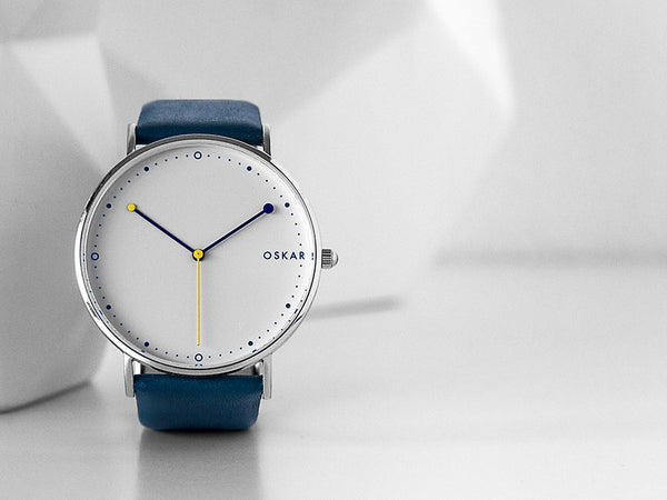 OSKAR Watches 42mm Danish design wrist watch in blue & yellow with blue leather strap