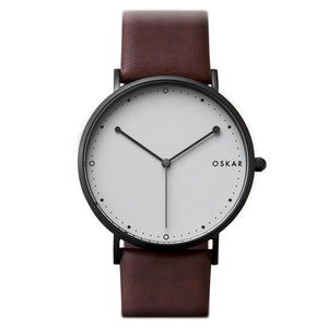 OSKAR 42mm Wrist Watch - Black & Grey - Minimalist Danish Design