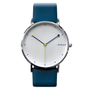 OSKAR 42mm Wrist Watch - Blue & Yellow - Minimalist Danish Design