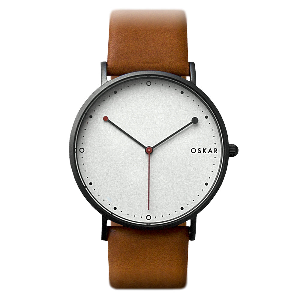 OSKAR 42mm Wrist Watch - Black & Red - Minimalist Danish Design