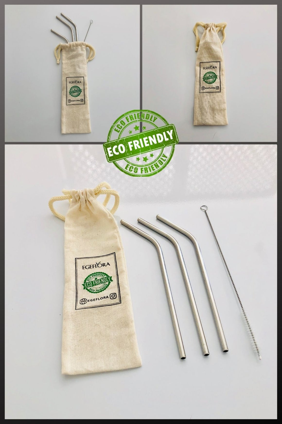 Stainless Steel Drinking Straws and Brush Set with Organic Cotton Pouch
