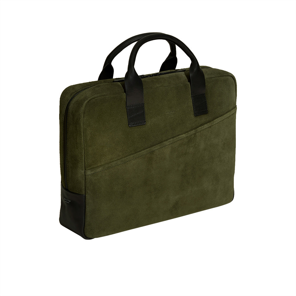 Olive Green Suede Briefcase