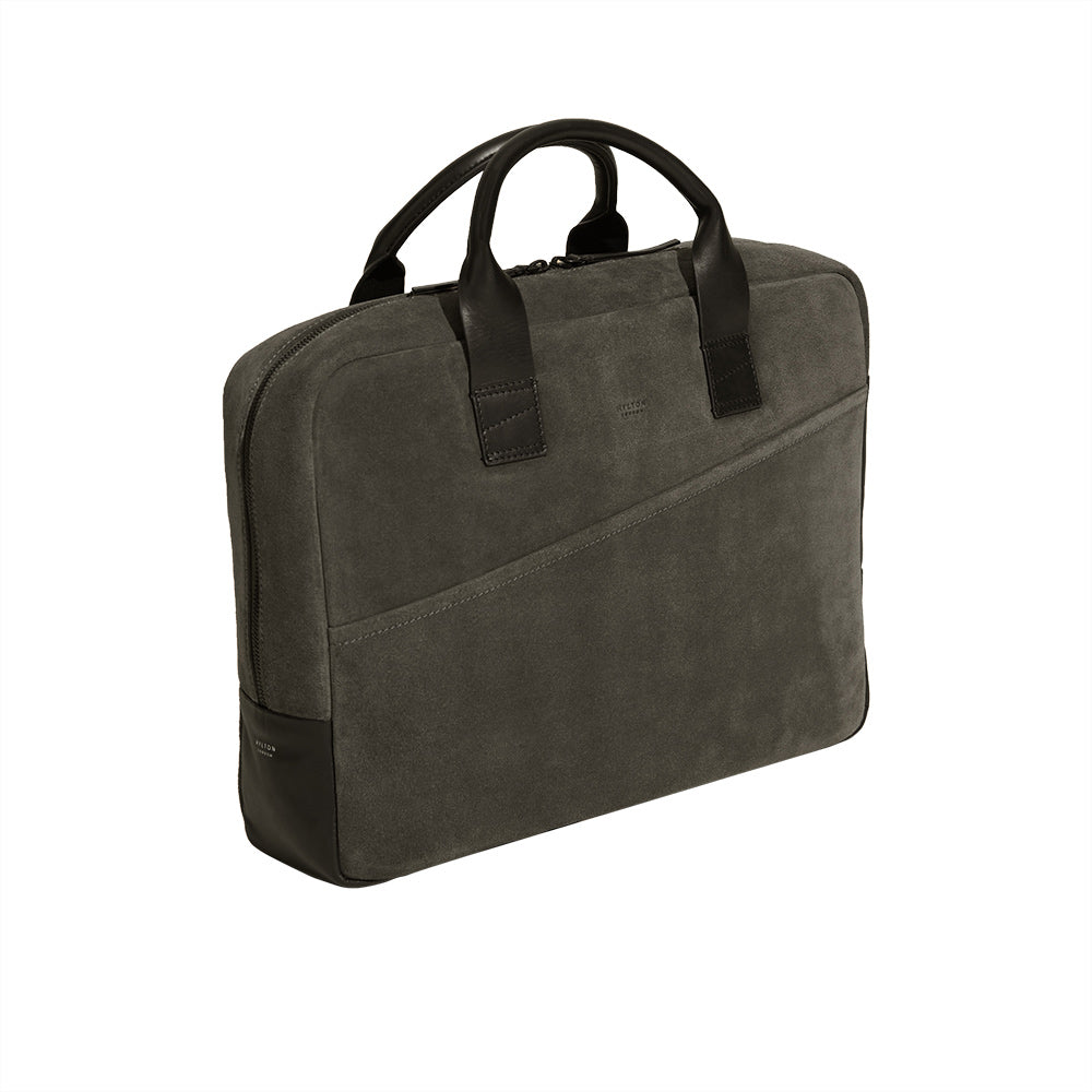 Smoke Grey Suede Briefcase