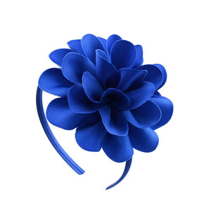 1piece Solid Grosgrain Ribbon Big Flowers Hairbands Princess Hair Accessories Plastic Hairband Girl Hairbands With Bows  701