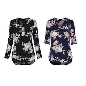 Autumn Women\'s V-Neck Floral Print Shirt Female Fashion Pleated Trendy Casual Slim Plus Size Long Sleeve Vintage Blouse S-XL