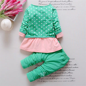 BibiCola Baby Girl clothing Sets kids 3PCS coat+ T shirt + Pants children Cute Princess Heart-shaped Print Bow baby girl outfits
