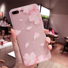 Cherry petals 3D Relief Silicone Case for iphone X 7 7Plus lace leaves TPU Case For iphone 6 6s 8 8plus 6splus back cover