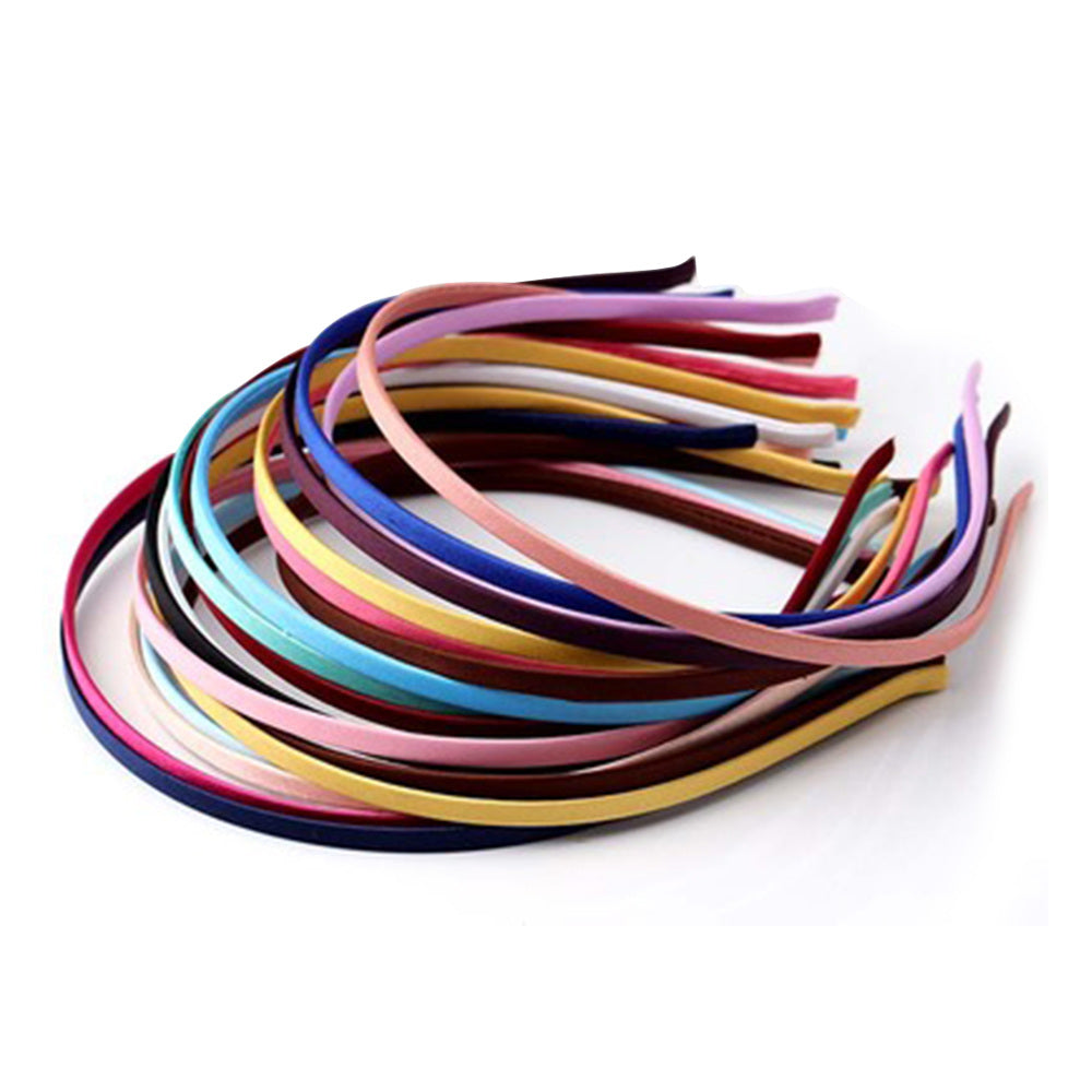 DIY 5 PCS Women Kids Girl's 5MM Colored Satin Covered Headband Metal Hairbanck Pink Hair Acced Blassories Craft Solid Plastic