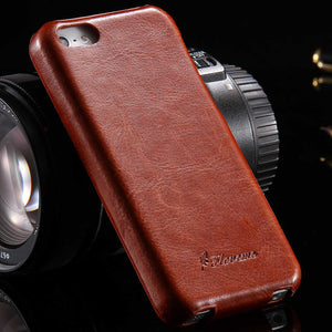 FLOVEME For iPhone 5 5S SE Case Retro Crazy Horse PU Leather Vertical Flip Phone Case For iPhone 5 5S SE Full Coverage Cover Bag