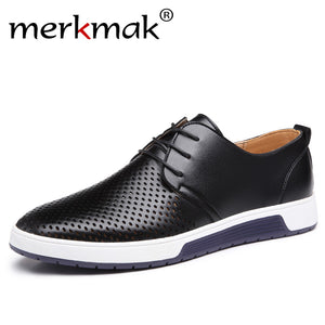 Merkmak 2017 Hot Sale Men's Shoes Leather Holes Design Summer Breathable Shoes Spring Autumn Business Men Flats Sapato Masculino