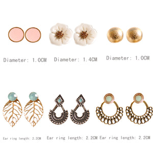 New fashion women accessories wholesale girls party  earrings beautiful mix-and-match 6 pairs /set earrings Christmas gifts