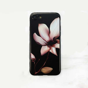 USLION Fashion 3D White Flower Paint Phone Case For iPhone 7 Vintage Soft TPU Back Cover Cases Coque For iPhone7 Plus