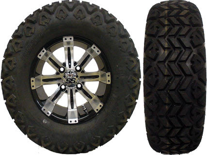 "(4) 12"" Tempest Machined w/ Black Wheels with (4) 23x10.50-12 MGC Multi-Trax II A/T Tires"
