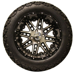 "(4) 14"" Megastar Machined w/ Gloss Black Wheels and (4) Backlash 23x10.00-14 A/T Tires"