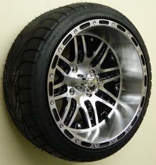 "(4) 14"" Megastar Machined w/ Black Wheels and (4) Backlash 215/35-14 Street Tires"