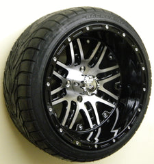 "(4) 14"" Megastar Machined w/ Gloss Black Wheels and (4) Backlash 215/35-14 Street Tires"