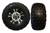 "(4) 10"" Vampire Machined w/ Black Wheel and 22x10.50-10 MGC Multi-Trax II A/T Tires"