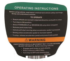 Club Car Gas Precedent Operating Instructions Decal