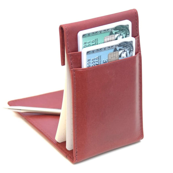 KenzaPad Maple Red — Minimalist Wallet with Notepad Cards