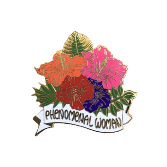 phenomenal woman enamel pin gift for her white background