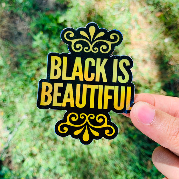 Black Is Beautiful holographic sticker