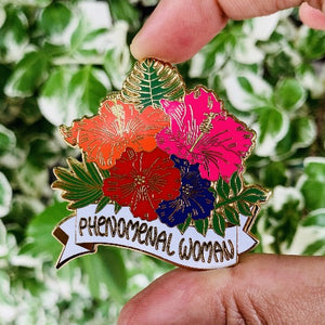 gift for her phenomenal woman enamel pin