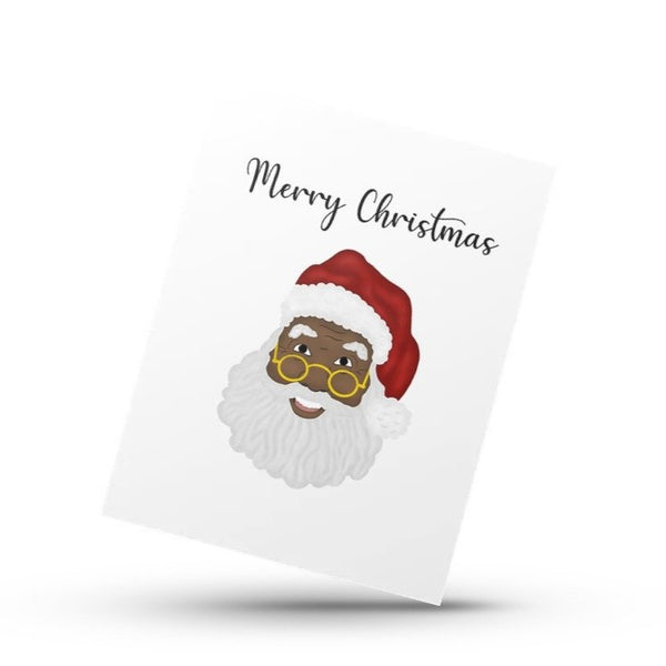 "Black Santa ""Mask-Off"" greeting card"